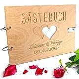 Handgearbeitetes Gästebuch zur Hochzeit aus Holz mit personalisierter Gravur & Lederverschluss - 150 Seiten / 75 Blatt DIN A4 Papier - 310 x 230 mm*