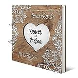 Hochzeit Gästebuch personalisiertes lasergeschnittenes Holzcover - Rustikal - 215 x 215 mm 144 Seiten Innenseiten Naturpapier*