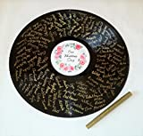 Herzl-Manufaktur Gästebuch rund Schallplatte inkl. Stift Gold Wedding Vinyl Erinnerung Gästebücher Eheschließung (HZ Gold)*